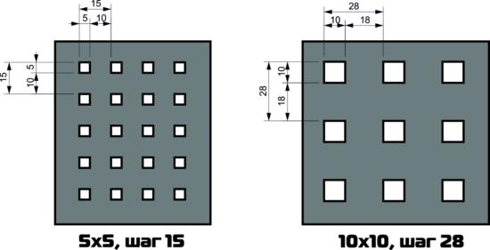 Схема отверстий перфорированного листа