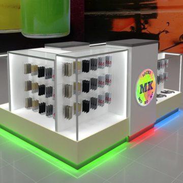 Дизайн торговых островков с цветной подсветкой