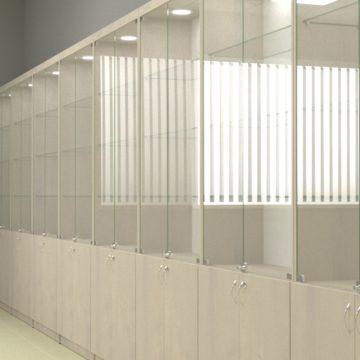 Торговая витрина для аптеки со стеклом и замками