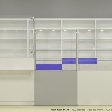 Прилавок для аптеки (со стеклом)