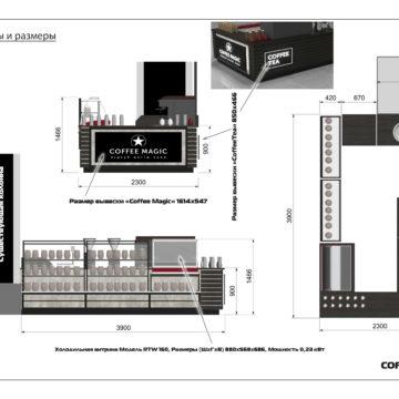 Дизайн-проект торгового островка. Размеры