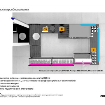 Дизайн-проект торгового островка. Схема электрооборудования