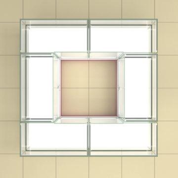 Торговый островок 2х2 со стеклянными кубами. Вид сверху