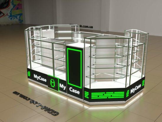 Визуализация торгового островка мобильных аксессуаров MyCase
