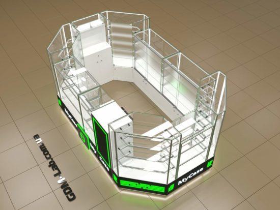 Дизайн торгового островка мобильных аксессуаров MyCase