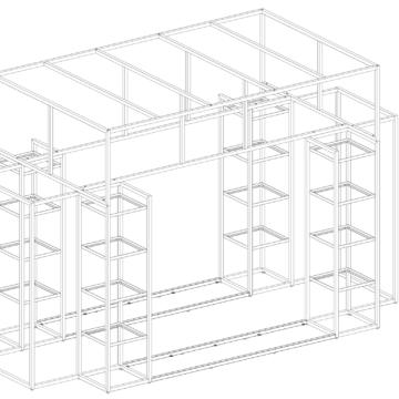 Схема металлической экспозиционной зоны из металла для магазина одежды и обуви