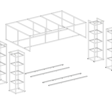 Схема металлической экспозиционной зоны из металла для магазина одежды и обуви. Схема сборки
