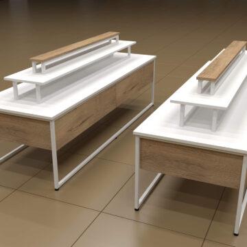 Островной выставочный стеллаж-столик