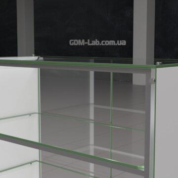 Торговый прилавок из ДСП и стекла Beauty-1. Метод крепления стекла держателями 6003