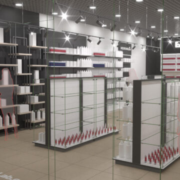 Дизайн и визуализация магазина профессиональной косметики BeautyBoom Караван
